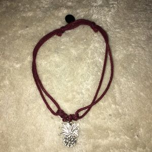 Burgundy and silver pineapple adjustable bracelet